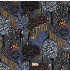 Tissu coton esprit années 60 anthracite bleu