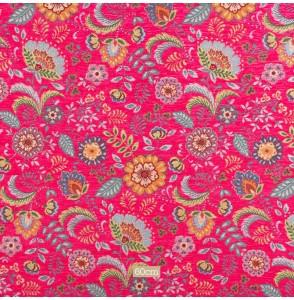 Tissu chenille fleuri vintage fuschia
