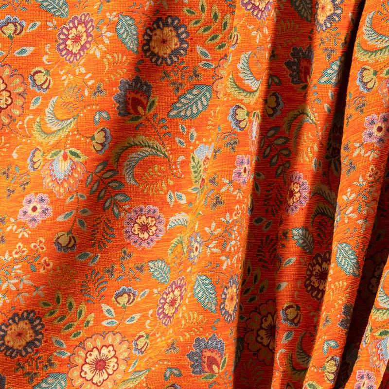 Tissu-chenille-fleuri-vintage-orange