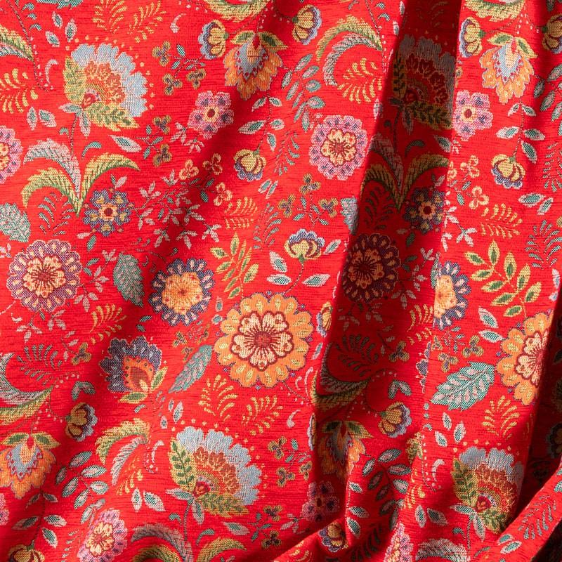 Tissu-chenille-fleuri-vintage-rouge