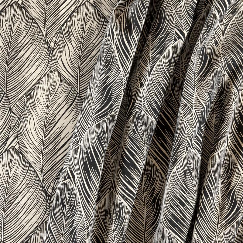 Tissu-280cm-jacquard-feuilles-noir-blanc-doré