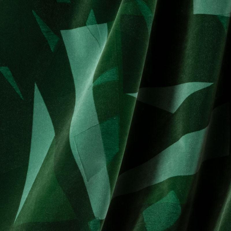 Tissu-velour-géométrique-vert-emeraude