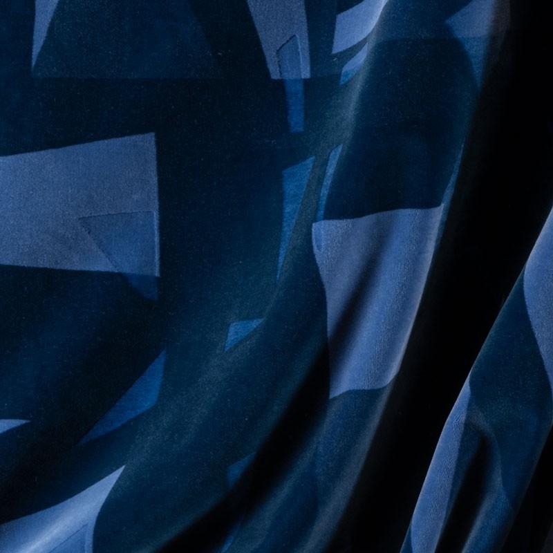 Tissu-velour-géométrique-bleu-cobalt