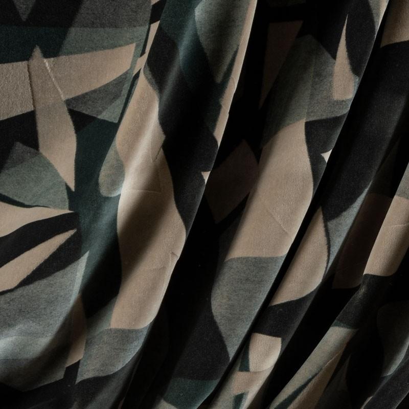 Tissu-velour-géométrique-gris-beige