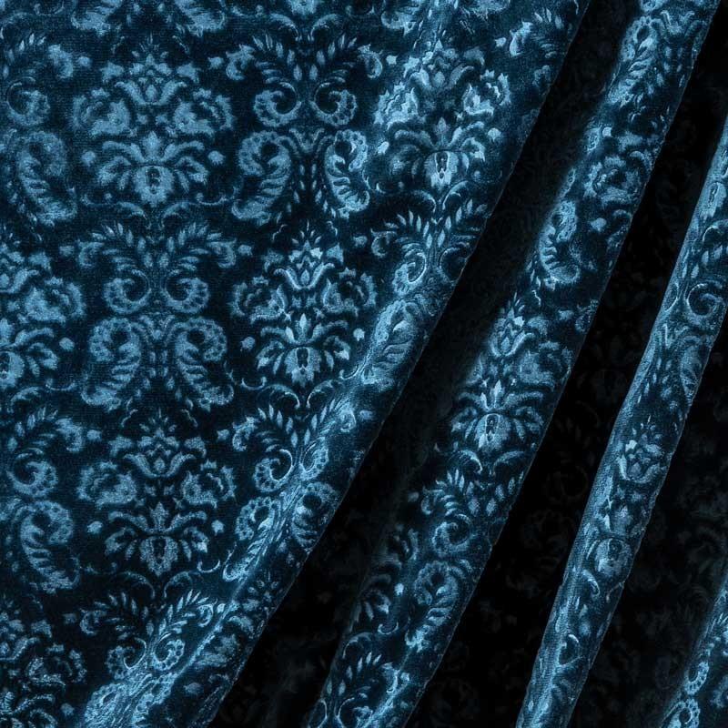 Tissu-velour-soie-coton-embossé-baroque-bleu