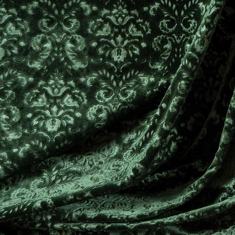 Tissu-velour-soie-coton-embossé-baroque-vert-sapin