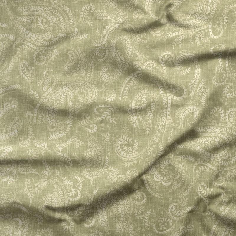 Tissu-lin-coton-motif--cachemire-vert