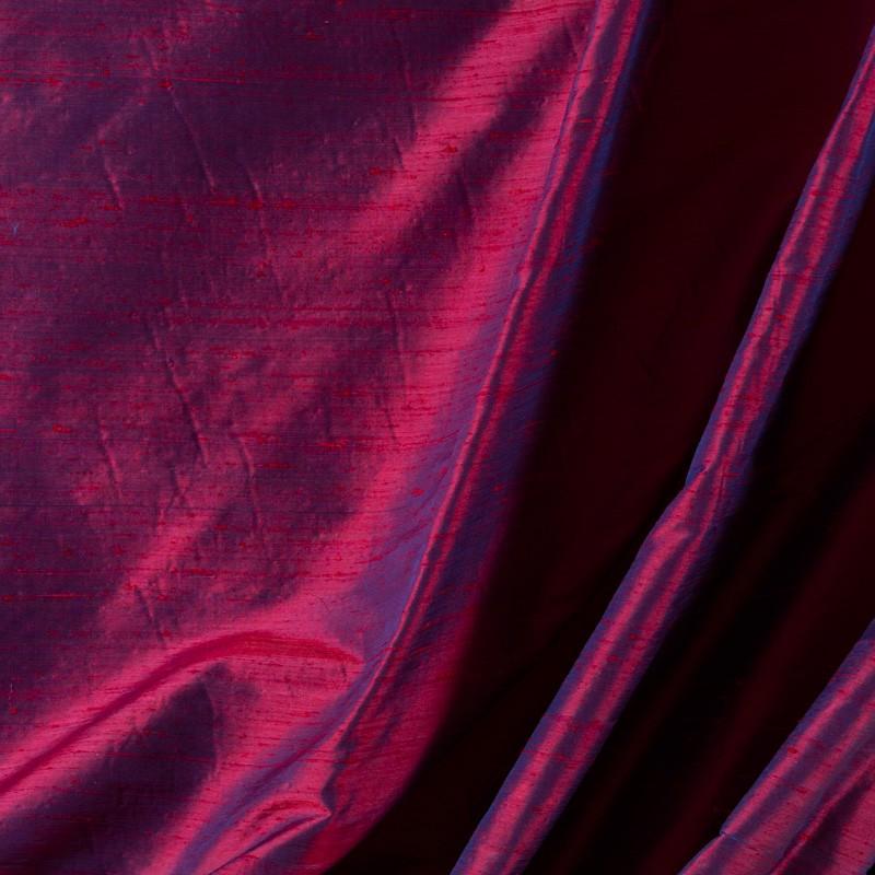 Tissu-soie-sauvage-fuschia-reflet-bleu