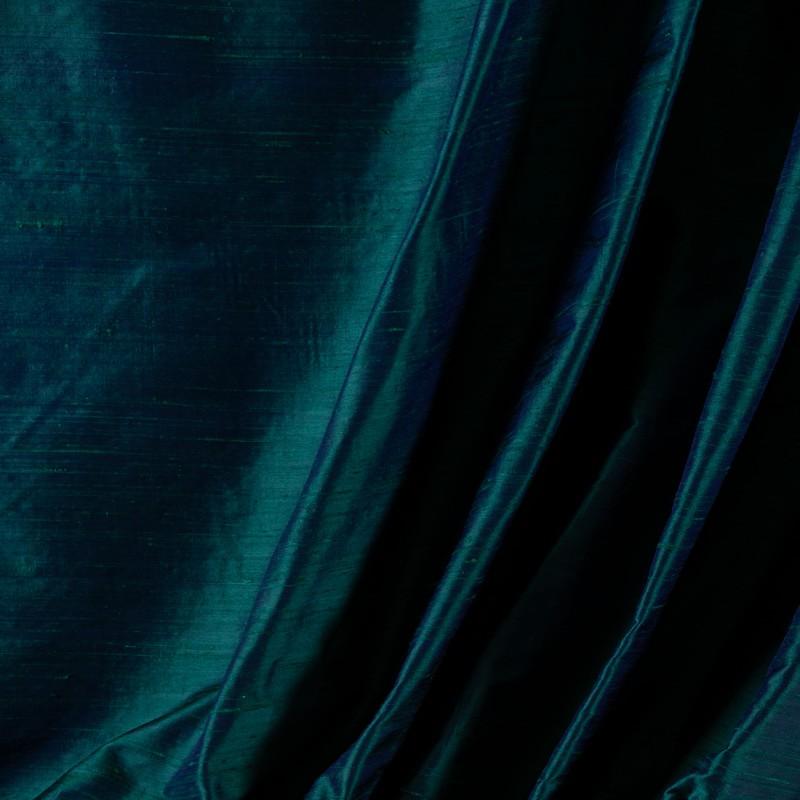 Tissu-soie-sauvage-bleu-reflet-canard