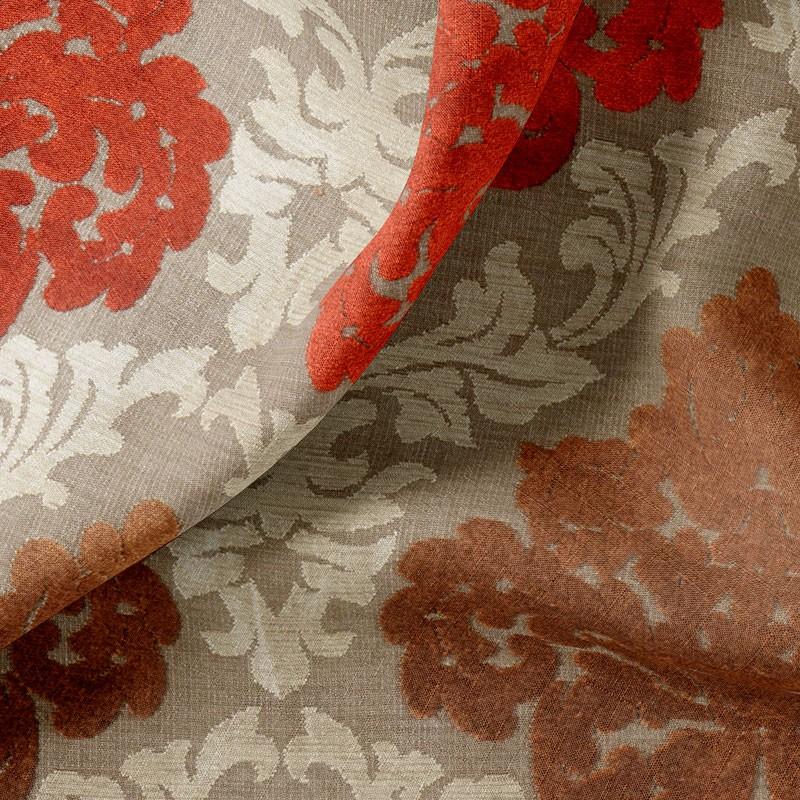 Tissu-velours-motif-rouge