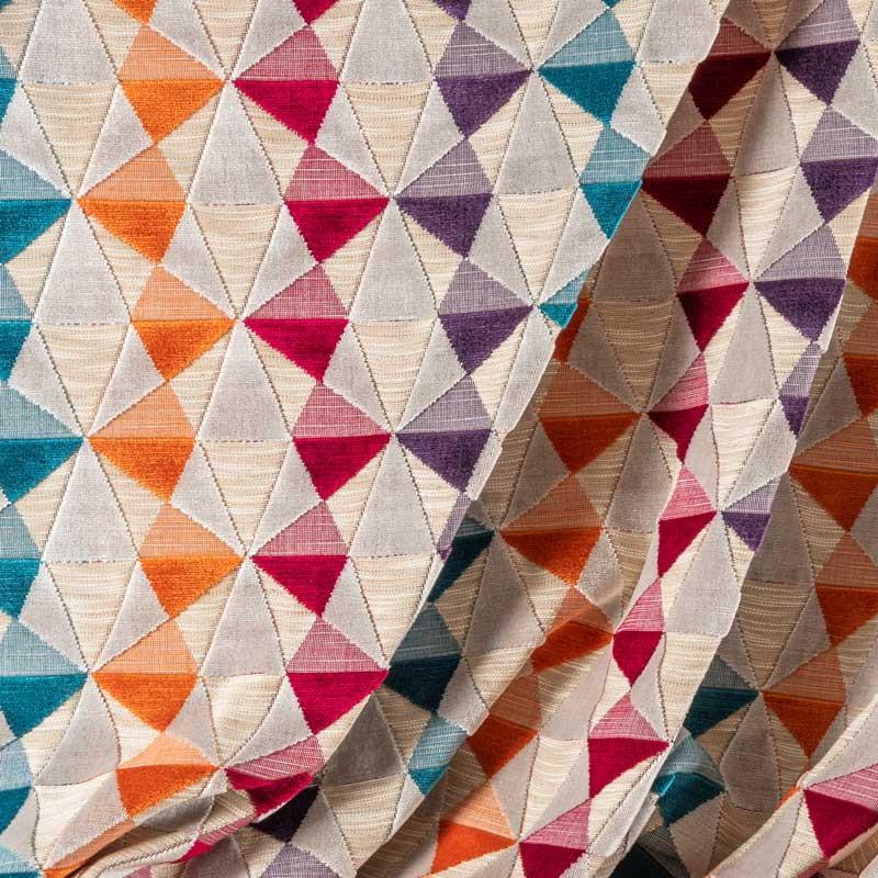 Tissu-velours-triangles-multicolore