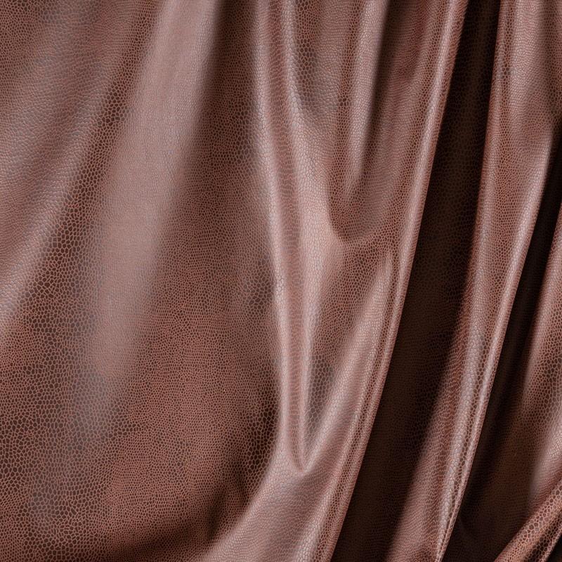Tissu-suédine-serpent-brun-roux