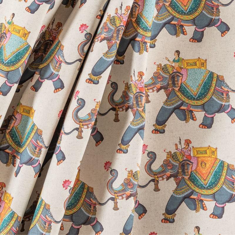 Tissu-280cm-lin-coton-motif-éléphant-indien