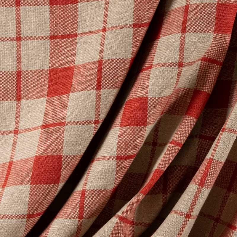 Tissu-lin-carreaux-rouge-corail