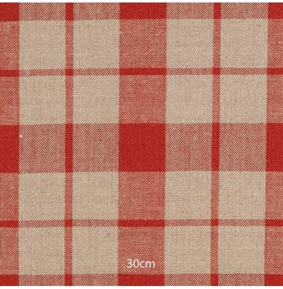 Tissu lin carreaux rouge corail
