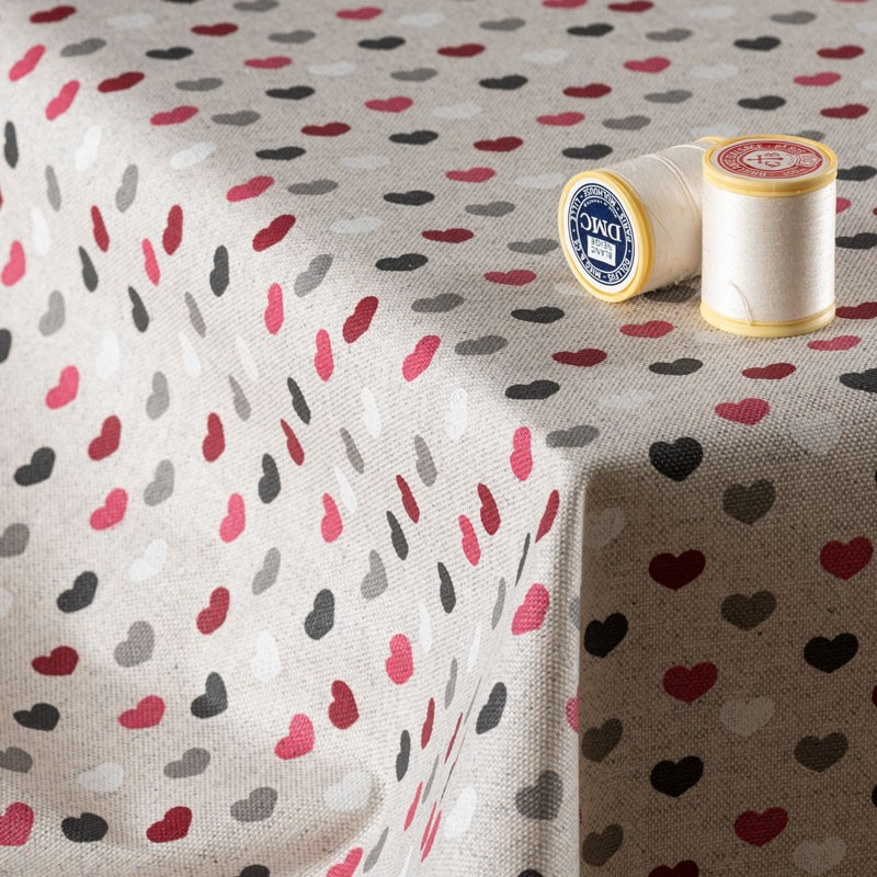 Tissu-en-coton-enduit-aspect-lin-petits-cœurs-bordeaux