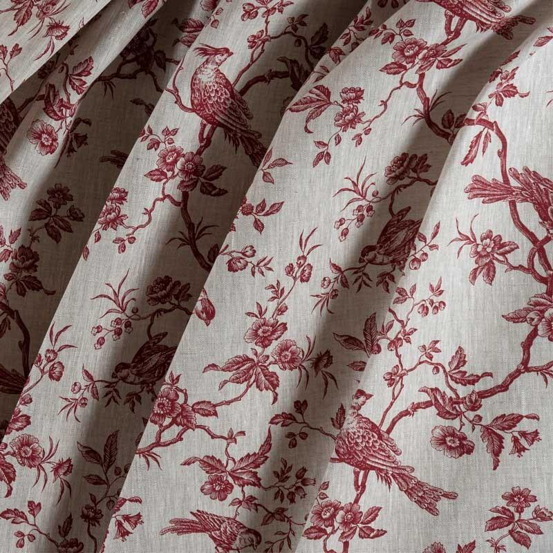 Tissu-lin-naturel-mésange-rouge