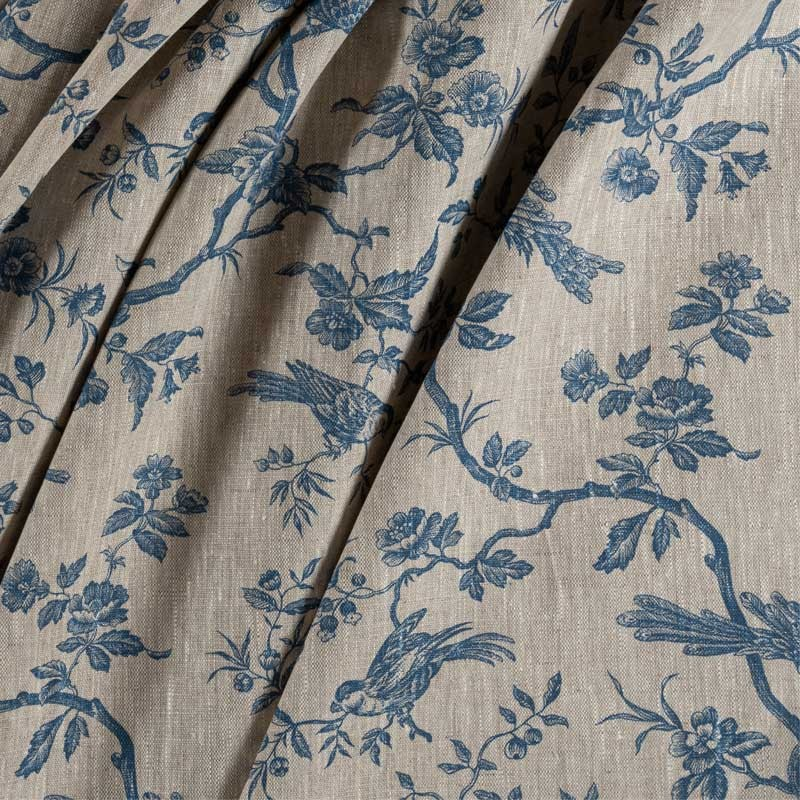 Tissu-lin-naturel-mésange-bleue