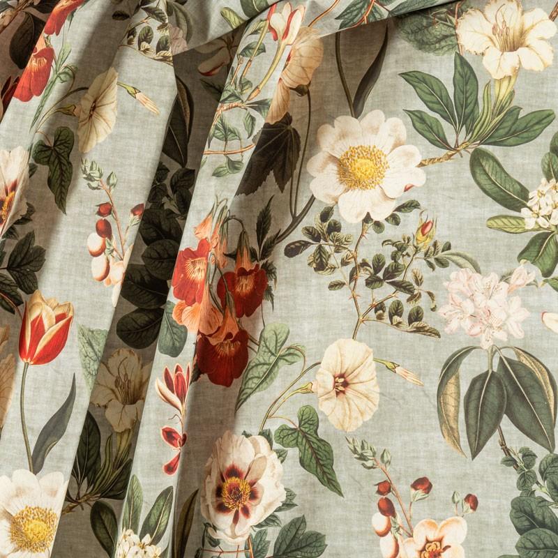Tissu-280cm-coton-motif-floral-fond-vert-de-gris