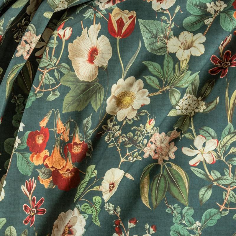 Tissu-280cm-coton-motif-floral-fond-vert-sapin