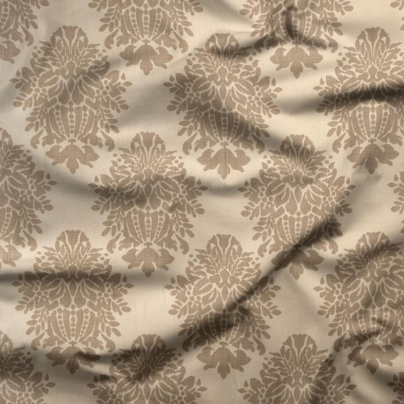 Tissu-lin-beige-motif-arabesque-taupe