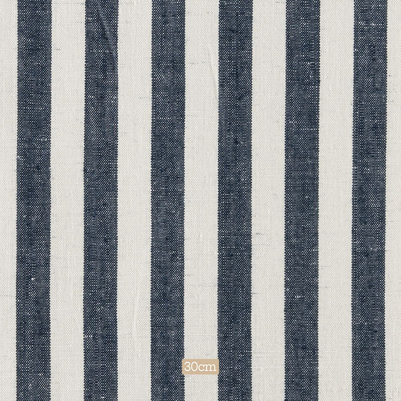 Tissu lin ligné bleu marine