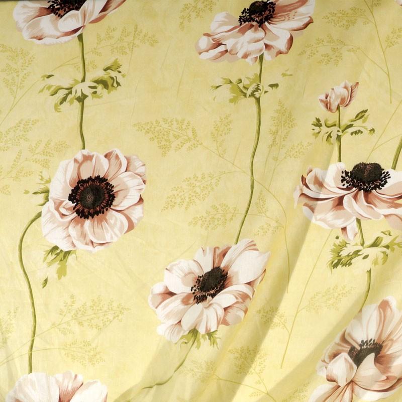 Tissu-lin-fleuri-sur-fond-jaune