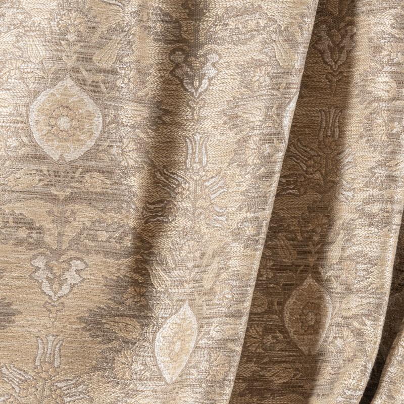Tissu-tissé-fleuri-beige