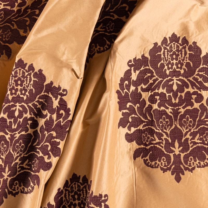 Tissu-taffeta-or-motif-art-déco-bordeaux