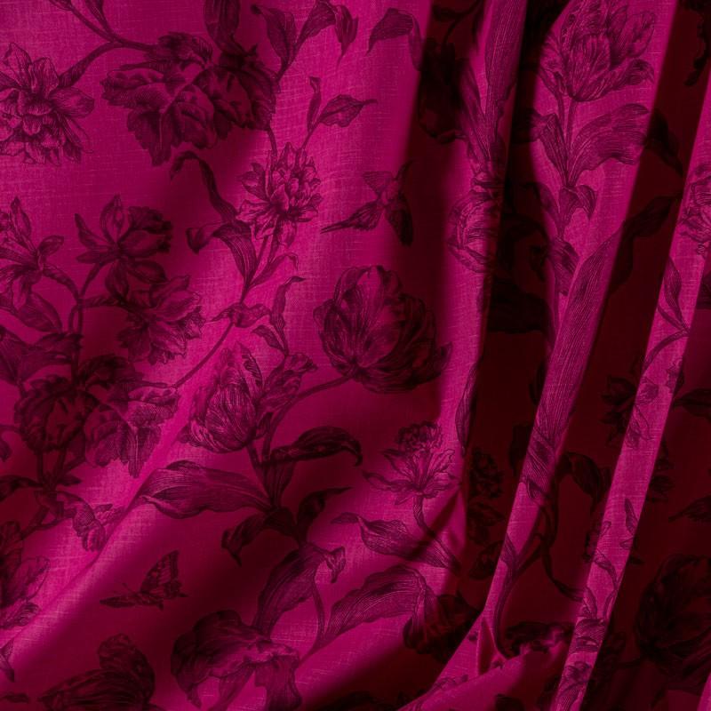 Tissu-lin-coton-fuschia-fleurs-noires