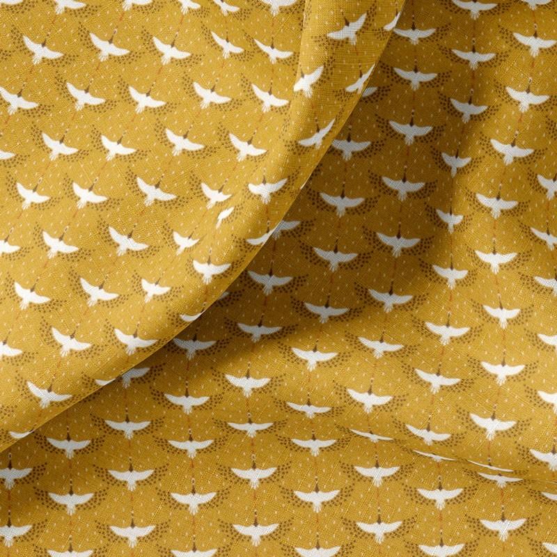 Tissu-coton-ocre-Cigogne