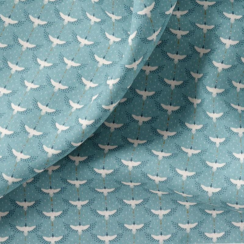 Tissu-coton-bleu-Cigogne