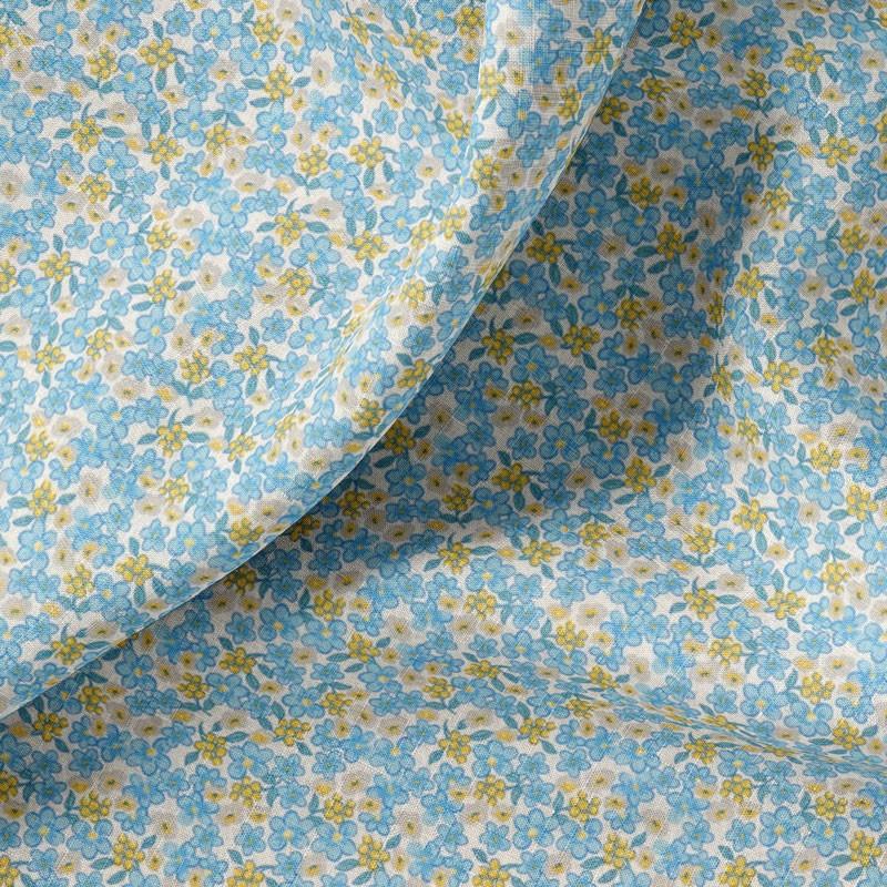 Tissu-coton-blanc-fleuri-bleu