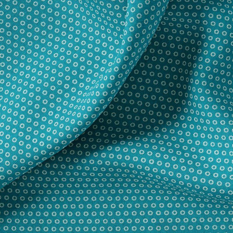 Tissu-coton-turquoise-fleuri-blanc