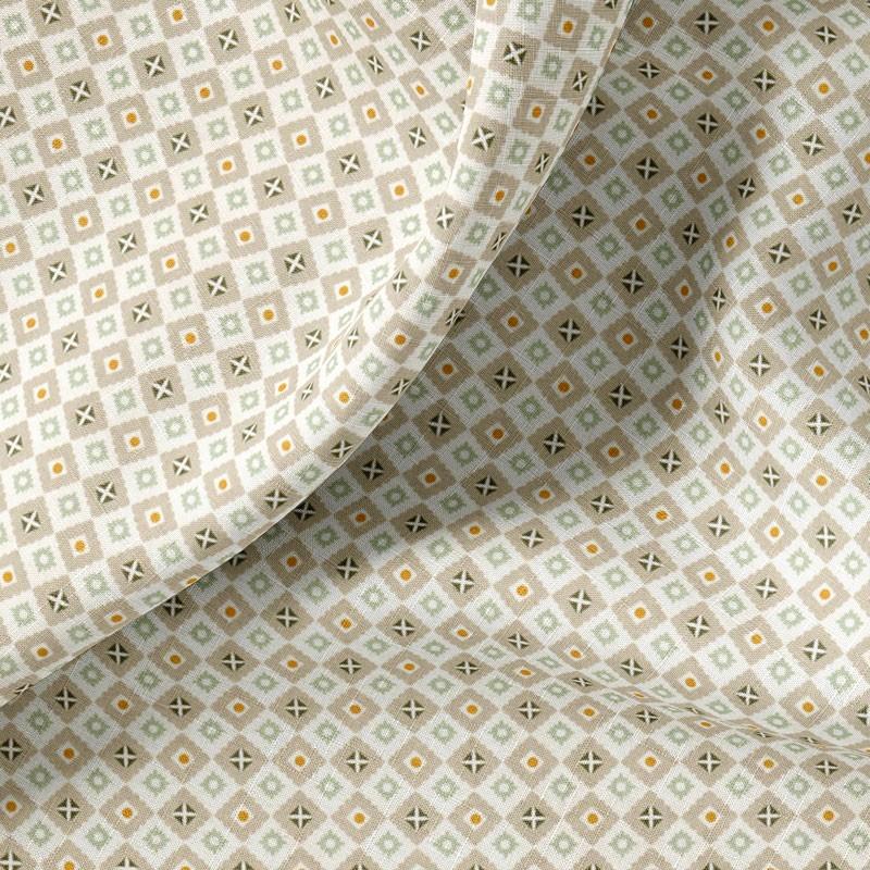 Tissu-coton-blanc-petits-carrés-gris