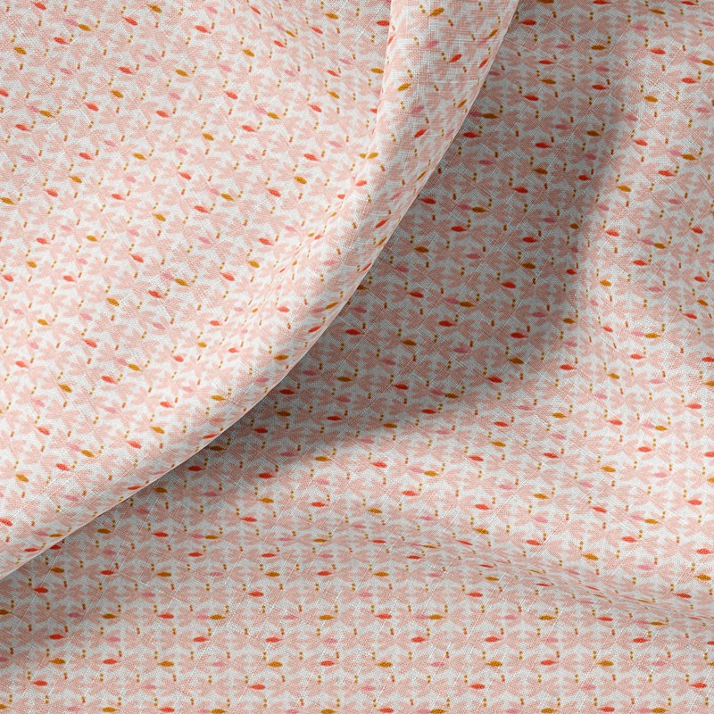 Tissu-coton-blanc-Feuille-pastel-rose