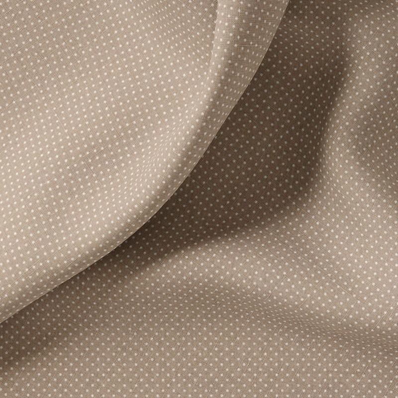 Tissu-coton-taupe-Pois-blancs