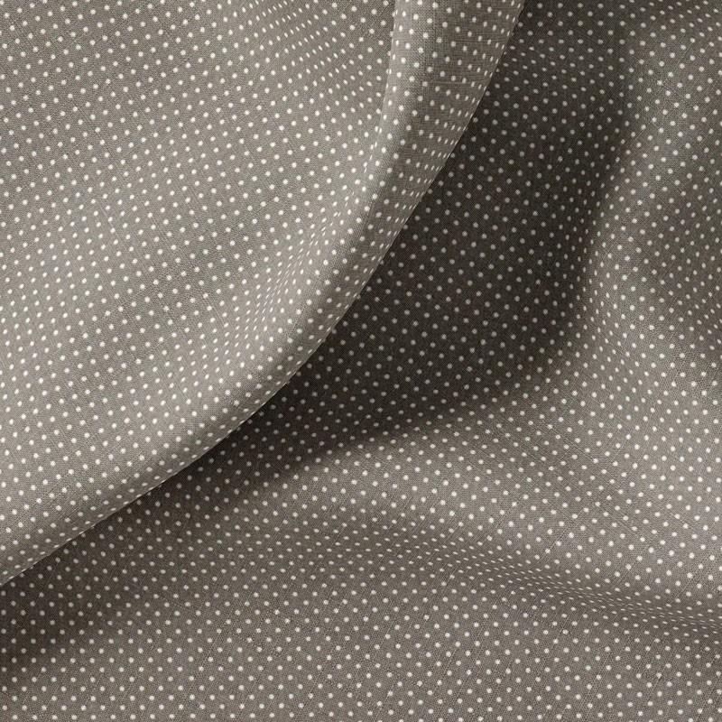 Tissu-coton-gris-Pois-blancs