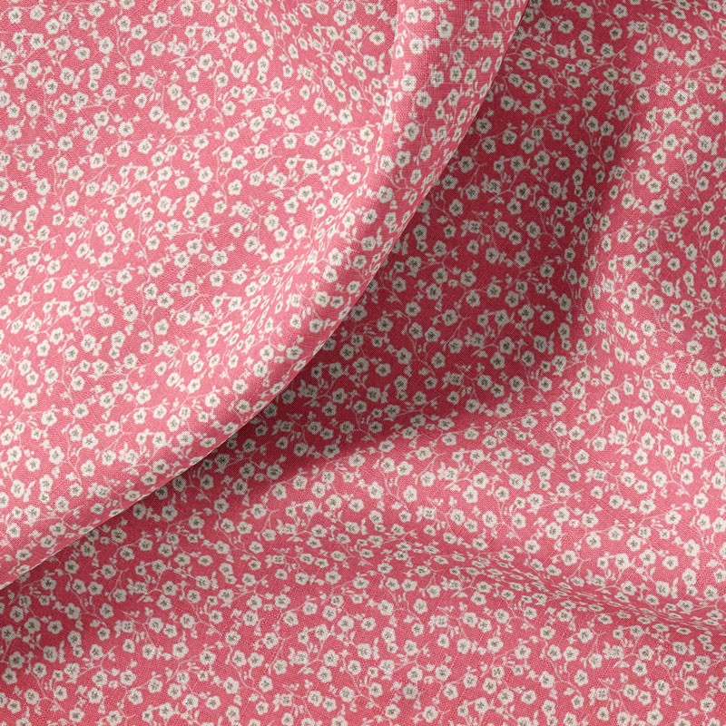 Tissu-coton-rose-fleuri