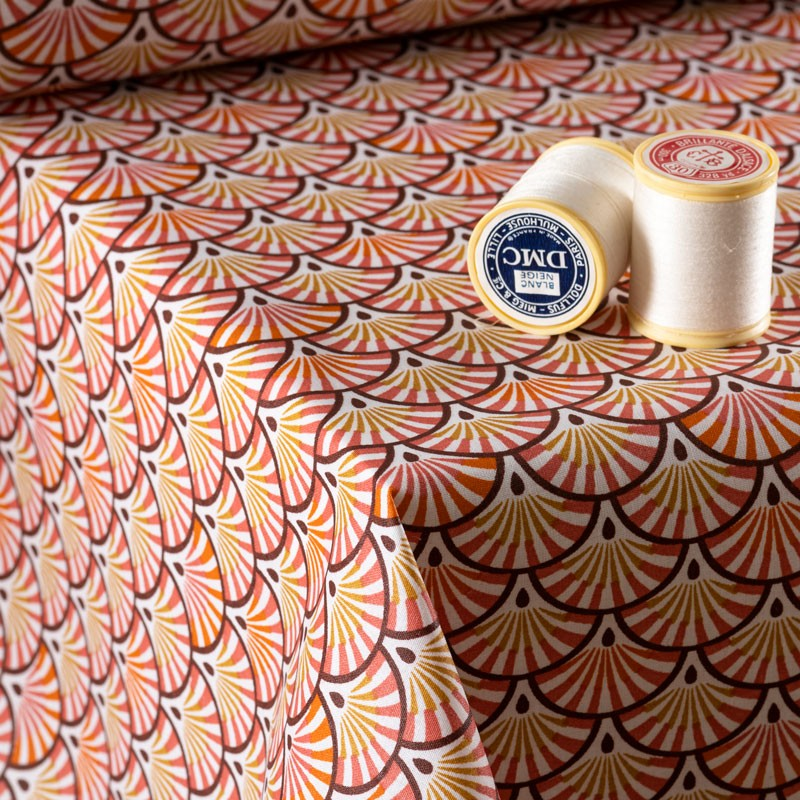 Tissu-coton-Enduit-éventails-prune-ocre
