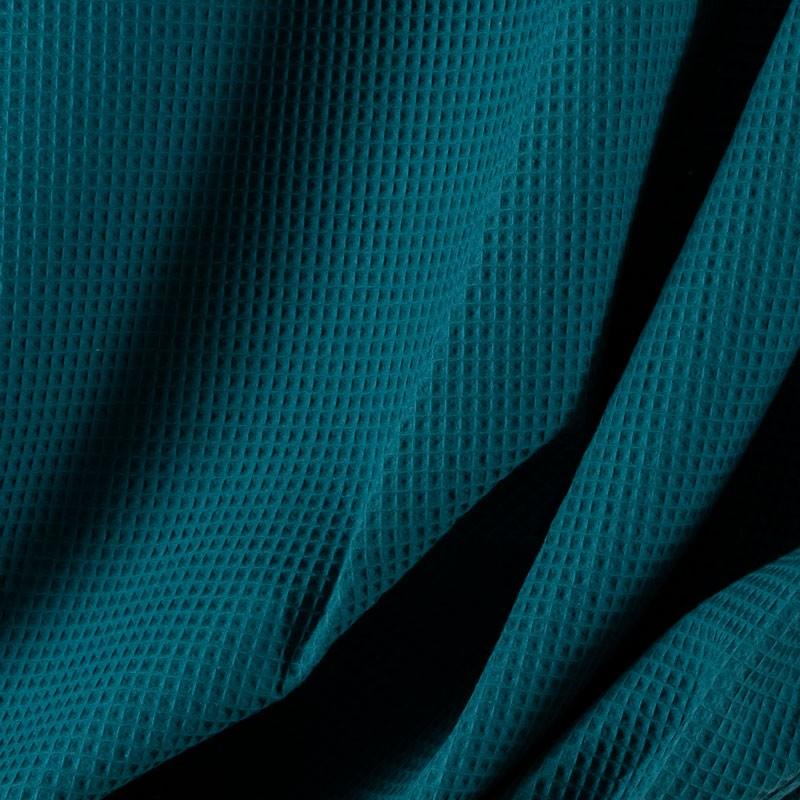 Tissu-coton-nid-abeille-bleu-pétrole