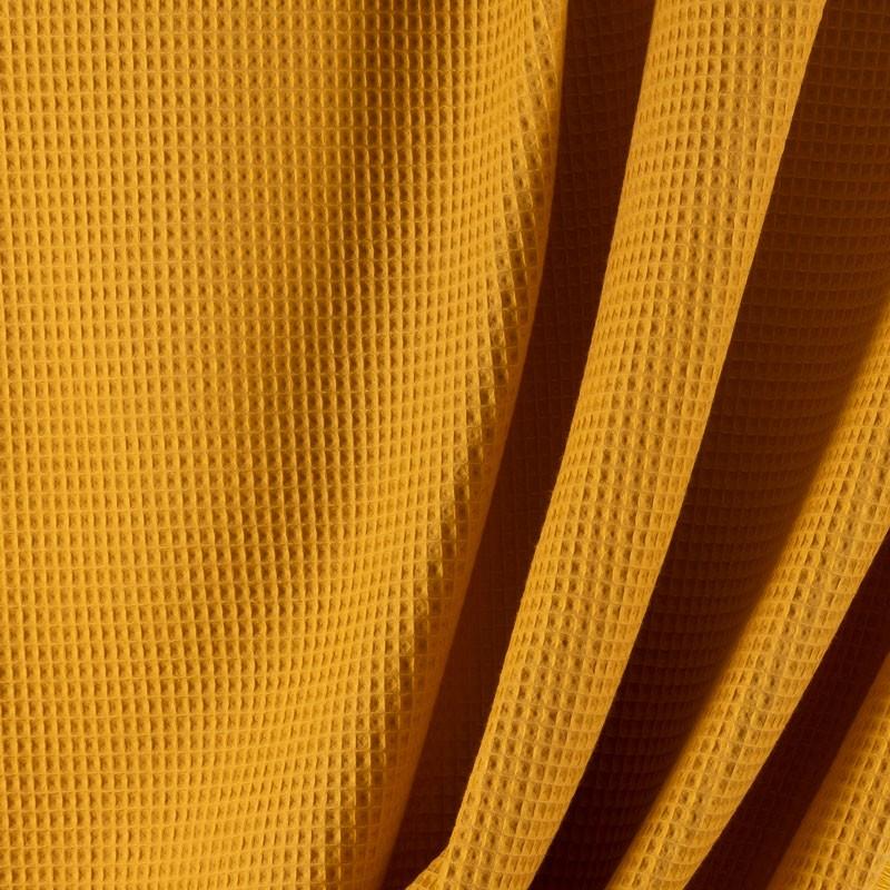 Tissu-coton-nid-abeille-moutarde