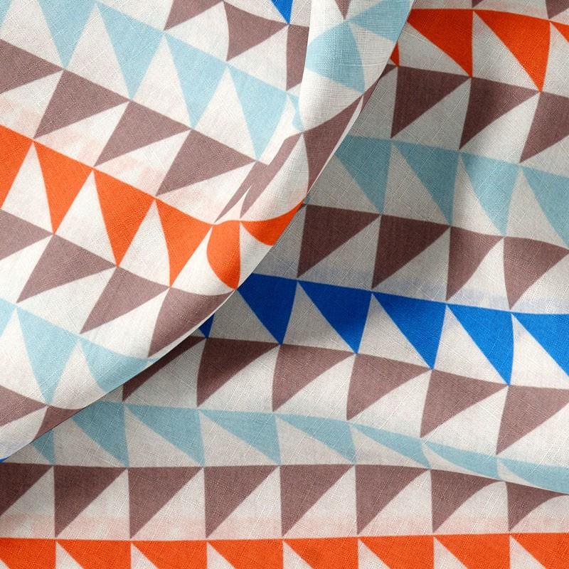 Tissu-280cm-coton-blanc-Triangle-bleu-orange