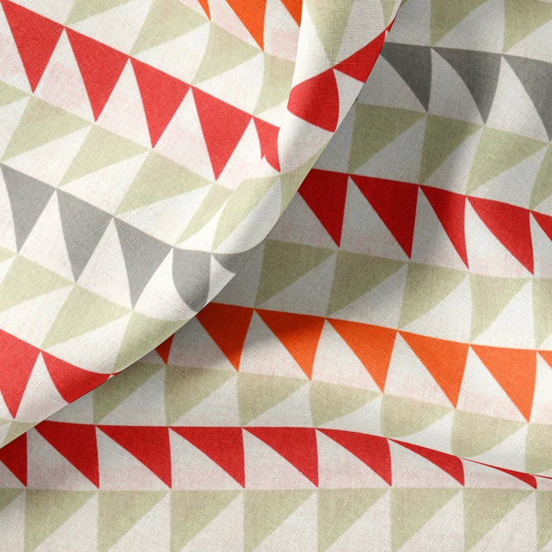 Tissu-280cm-coton-blanc-Triangle-rouge-orange