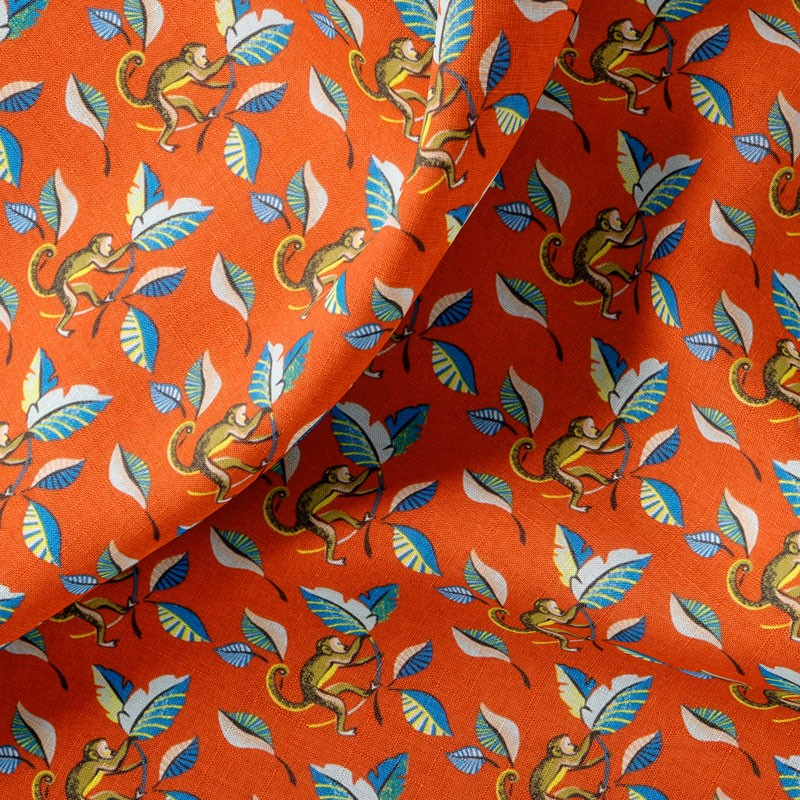 Tissu-coton-orange-Singe