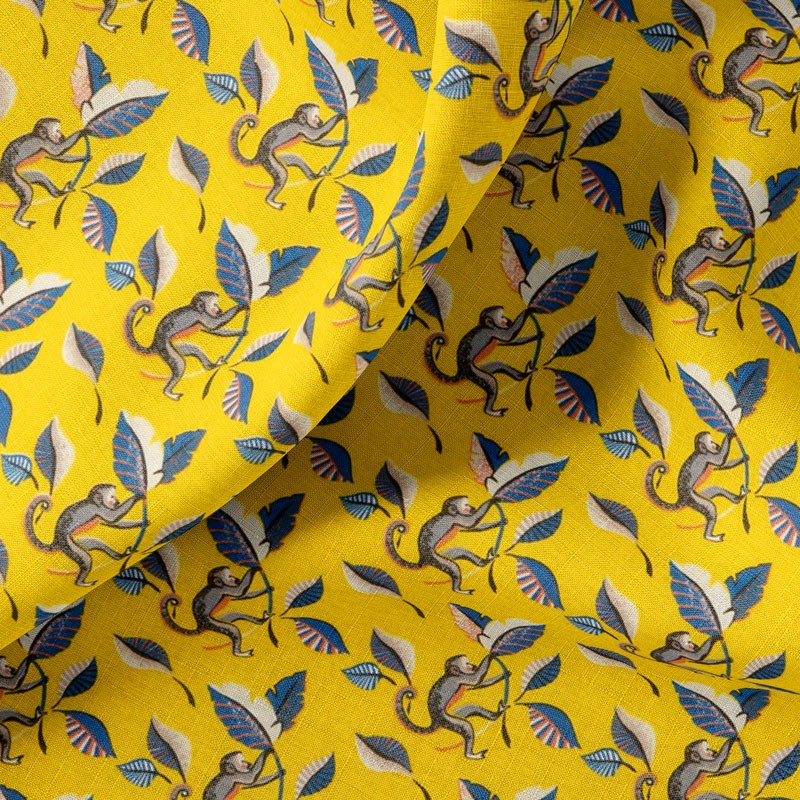 Tissu-coton-jaune-Singe