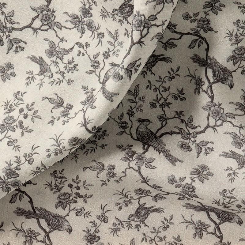 Tissu-280cm-coton-écru-Oiseaux-gris