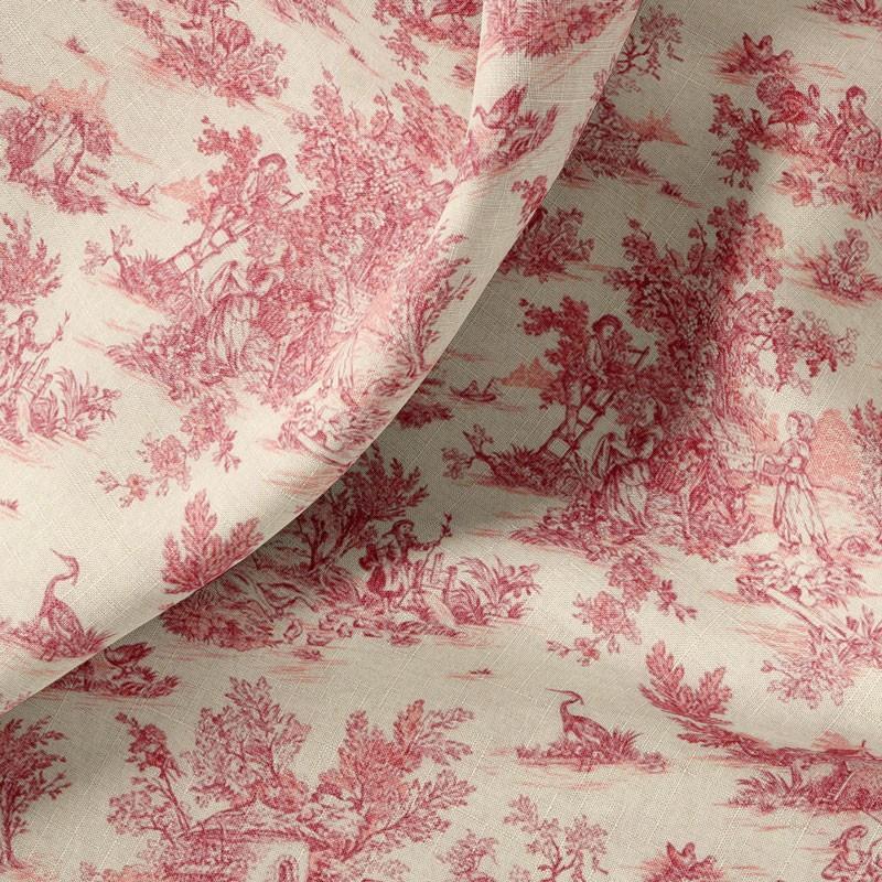Tissu-280cm-coton-écru-toile-de-Jouy-rouge