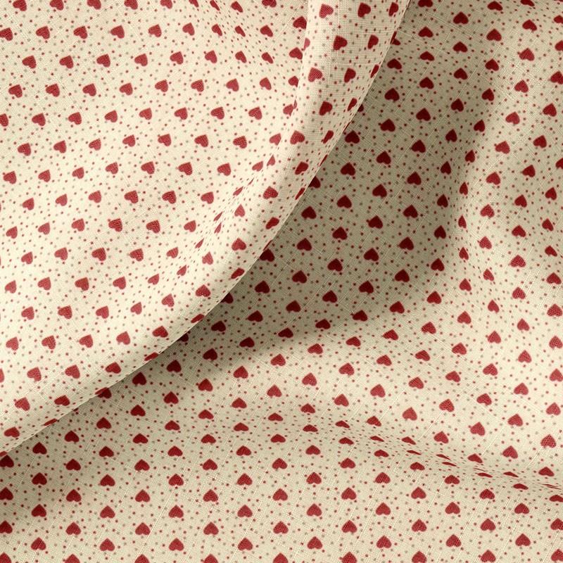 Tissu-coton-écru-Cœurs-rouges
