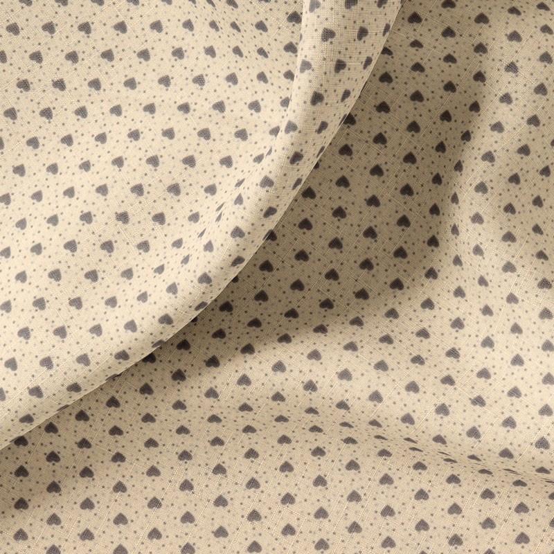 Tissu-coton-écru-Cœurs-gris